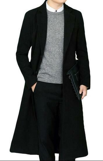 Mens Stand Collar Full Length Trench Wool Blend Coat Lapel Overcoat Outwear