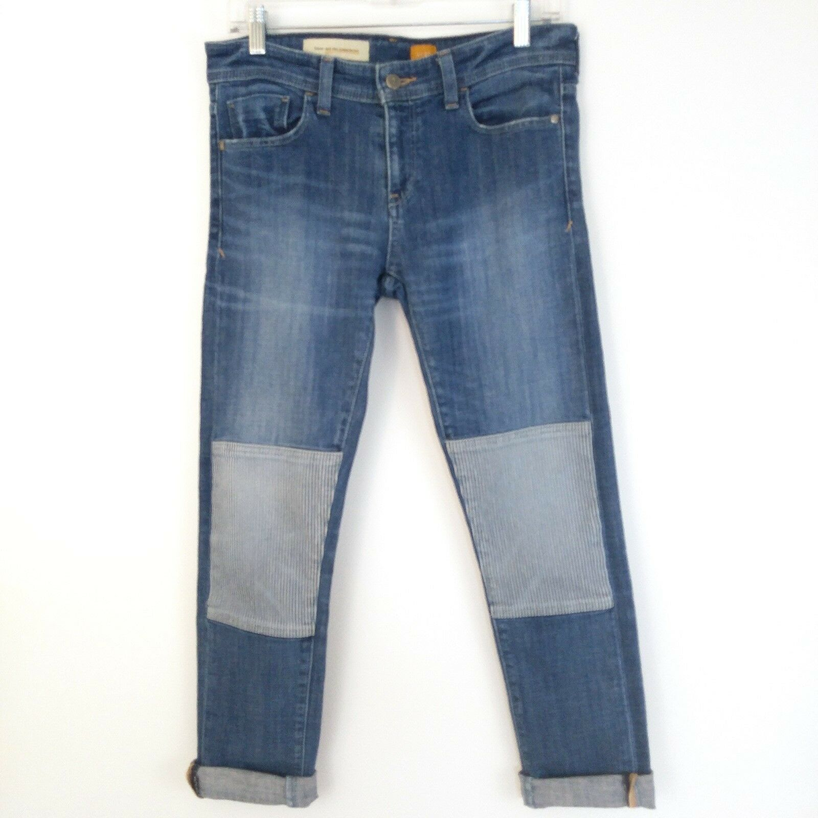 Anthropologie Pilcro and the Letterpress Hyphen Patch Jeans 27 Railroad Stripe