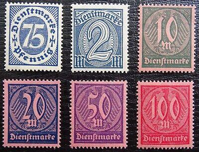 FleißIg Deutsches Reich Dienst Mi 69-74 * , Wertziffer