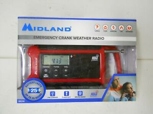 Midland Emergency Crank Weather Radio ER210 USB Charger Flashlight Radio RED
