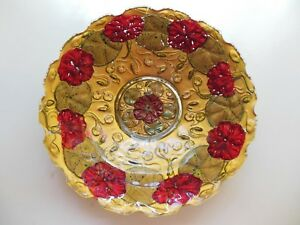 Goofus-Glass-Painted-Decorated-Gold-amp-Red-Poppy-Floral-10-1-2-034-Bowl