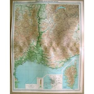 FRANCE South East Corsica and Marseilles Vintage Map 1922 by