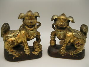 Beautiful-Antique-Chinese-Carved-Wood-Foo-Dog-Bookends