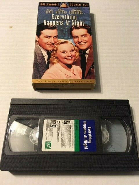 "RARE PRE-OWNED VHS TAPE - ""EVERYTHING HAPPENS AT NIGHT"" (1939) - SONJA HENIE"