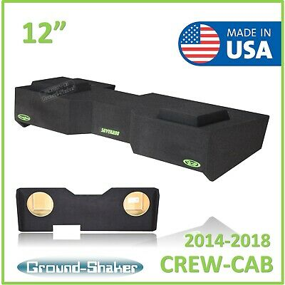 "Sierra Crew Cab Dual 10/"" Subwoofer Enclosure Sub Box 2014-2018 Chevy Silverado"