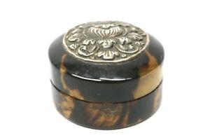 Antike Kleine Biedermeier Schiltpatt Deckeldose mit Silbermontierung