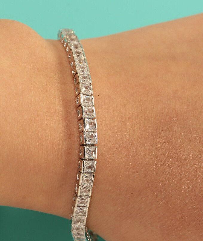 Rubyshire Princess Diamond 18K White gold Finish Bracelet for Women Anniversary