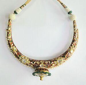 Vintage antique solid 20K Gold jewelry diamond polki Enamel