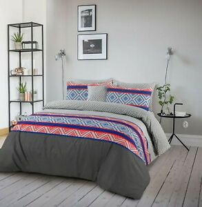 Cotton-Reversible-Duvet-Doona-Quilt-Cover-King-Size-With-Pillowcases-Set