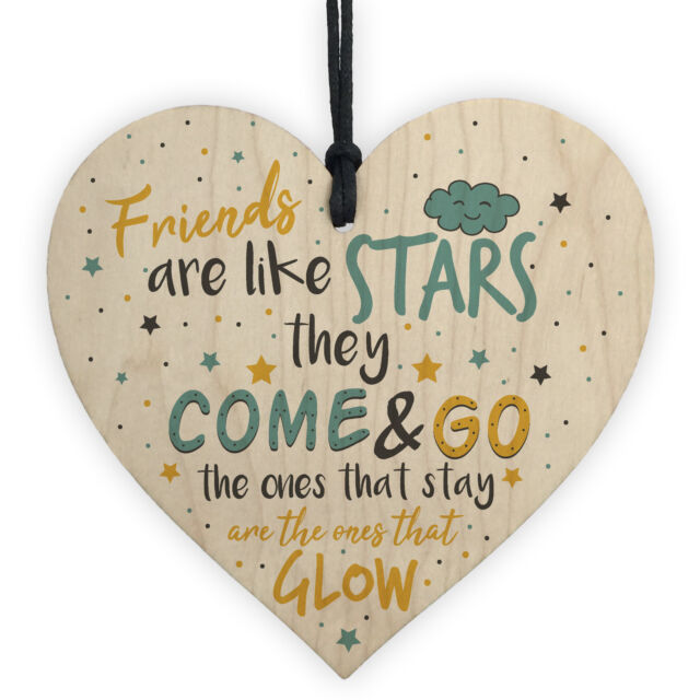 Friendship Gifts Friends Are Like Stars Handmade Wooden Heart Sign Birthday Gift