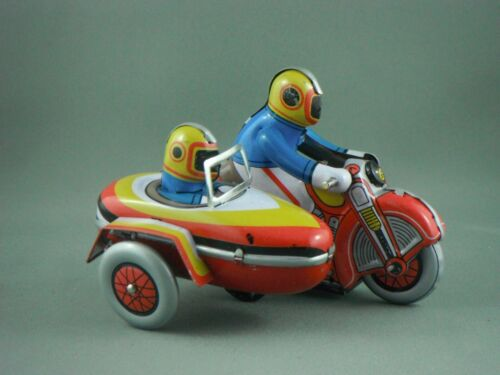 Tin Toy Wind Up Small Motor-Cycle with Sidecar