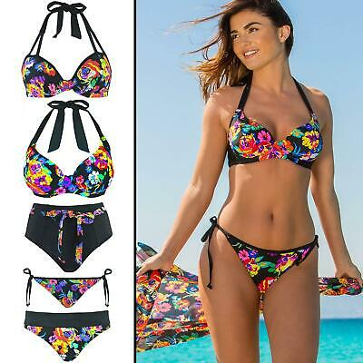 63000 Pour Moi Black Dahlia Padded Underwired Top Black Multi