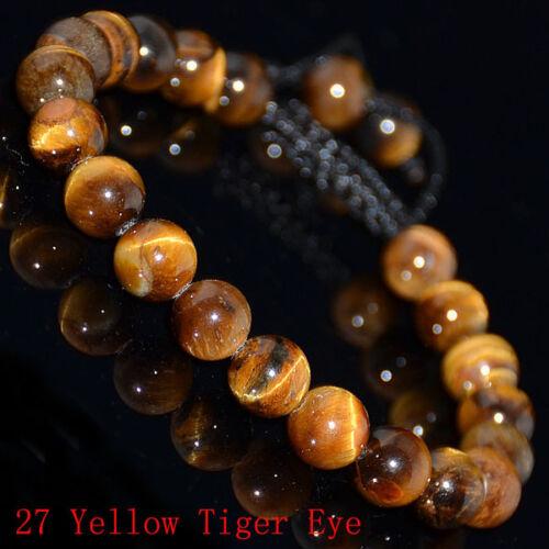Hommes Femmes 8 mm pierres naturelles Tressé Macrame Perles Bracelet ajuster Handmade