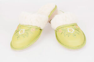 Women`s//Ladie`s handmade warmed Natural Leather slippers sizes UK 3,4,5,6,7,8