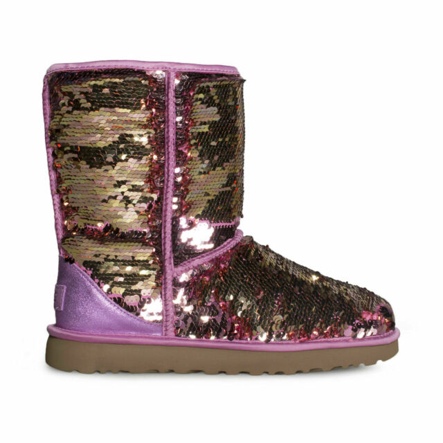 0d1fb2952bc UGG CLASSIC SHORT SEQUIN PINK FASHION SPARKLE WOMEN'S BOOTS SIZE US 8/UK 6  NEW