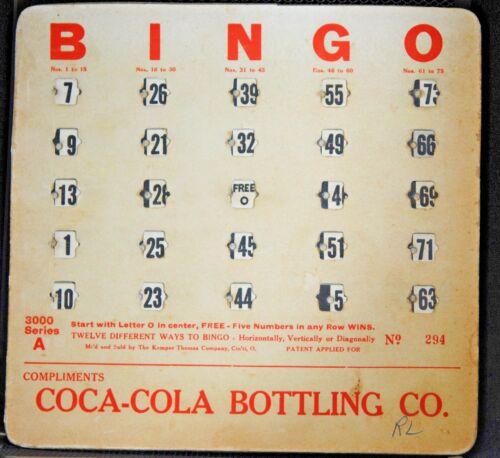 RARE VG//EX 1940s COCA COLA OHIO BOTTLING COKE BINGO BOARD GAME