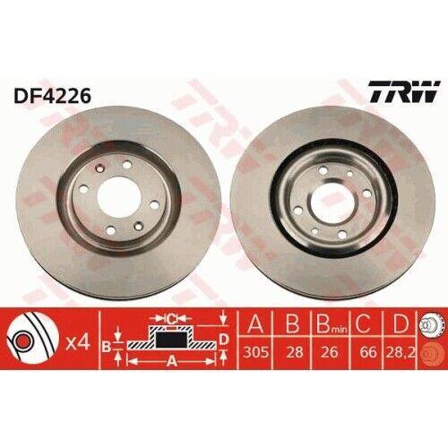2 Bremsscheibe TRW DF4226 passend für PEUGEOT
