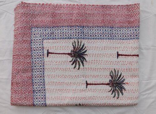 5 Pcs Kantha Quilt Floral Hand Block Cotton Bedspread Handmade Queen Size Quilt