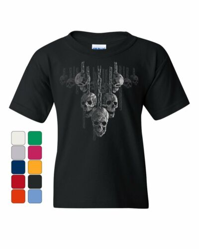 Skulls Hanging on Chains Youth T-Shirt Death Creepy Scary Hell Devil Kids Tee