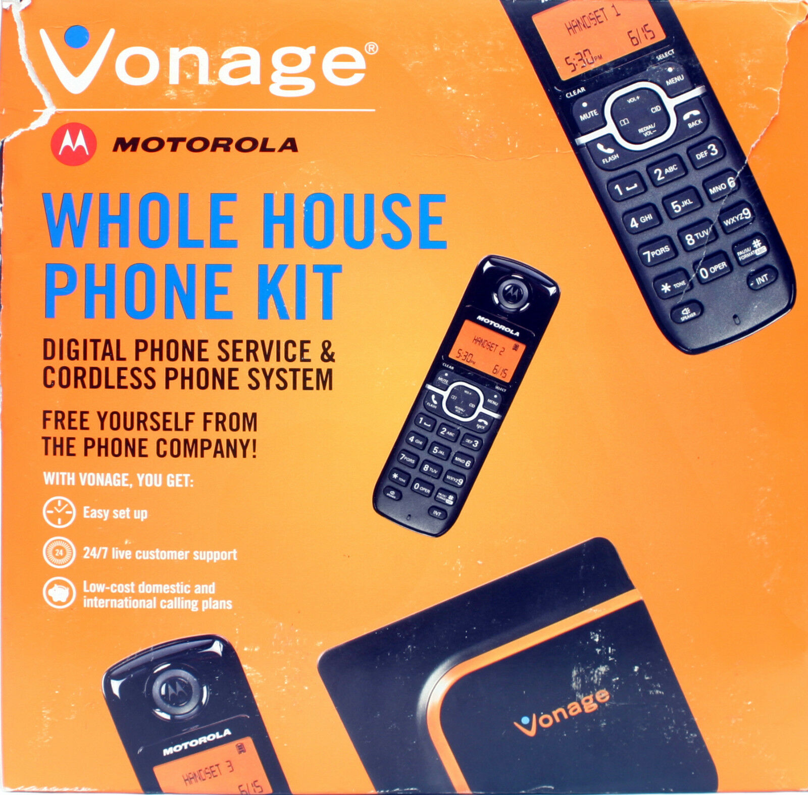 Motorola L603m 3 Cordless PHONES Vonage Vdv22-cvr Whole House Phone Set