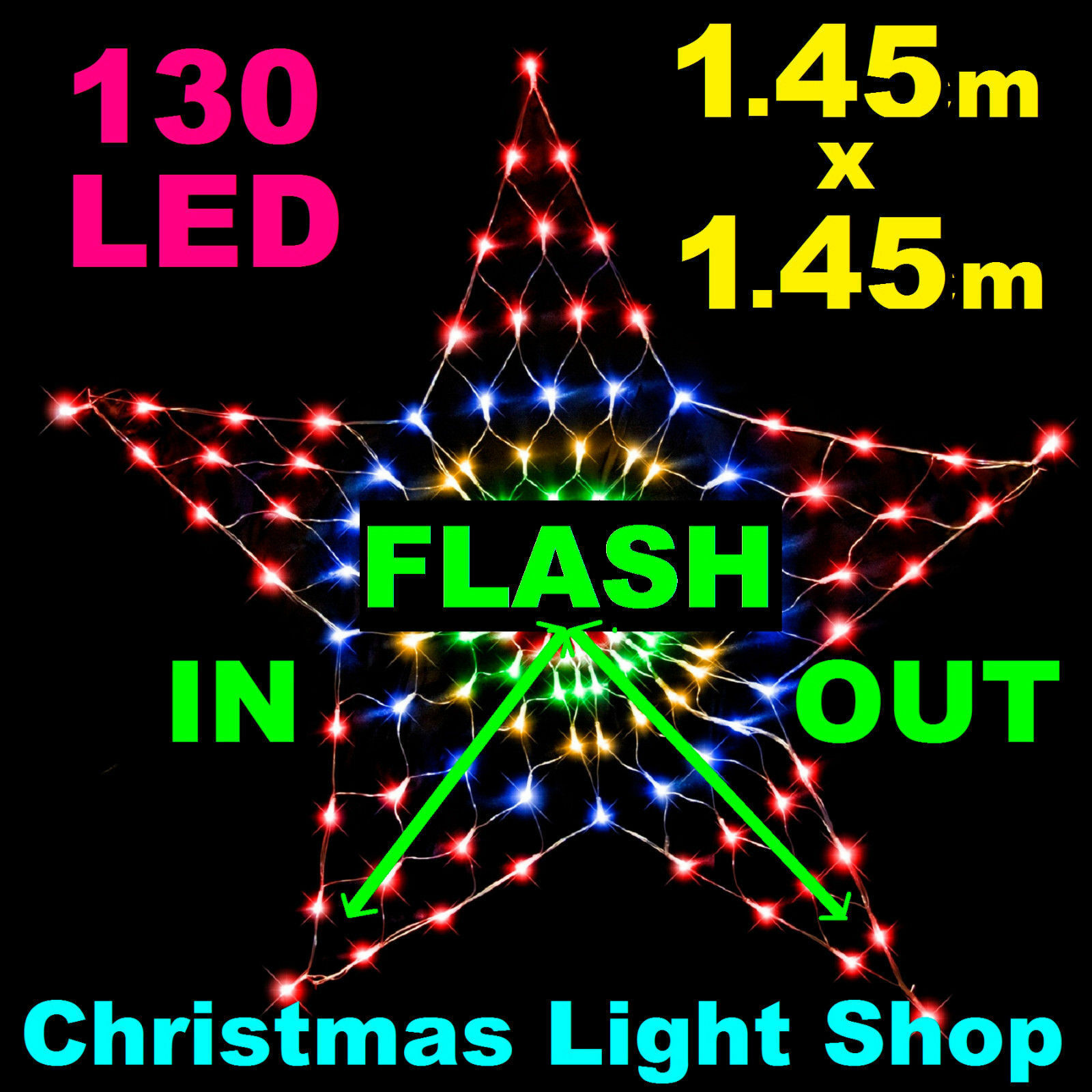 45CM STAR NET LIGHT MULTI COLOUR FLASHING 130 LED XMAS CHRISTMAS WINDOW XM0592