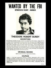 Framed Print - FBI Wanted Poster of Ted Bundy (Picture Art Serial Killer Ripper)