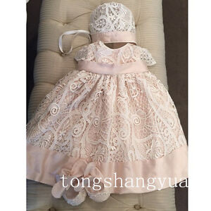 Pink-Baptism-Dresses-White-Ivory-With-Bonnet-Lace-Baby-Christening-Gowns-0-24-M