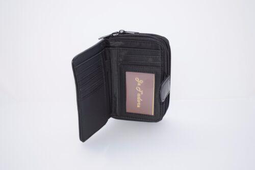 Borsetta donna VERA PELLE portafoglio con tre sezioni per nota ecc. cambia le carte