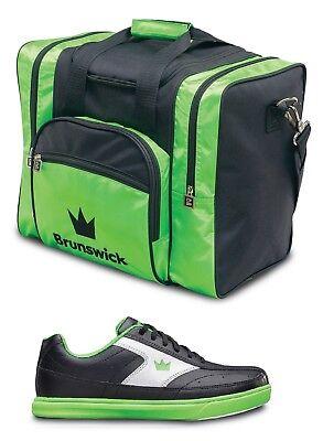 Mens Brunswick RENEGADE Bowling Shoes Black//Green Sizes 6-15
