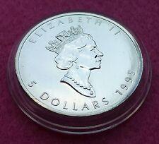 1995 Canada Maple Leaf $5 CINQUE DOLLARI ARGENTO BU 1oz MEDAGLIA