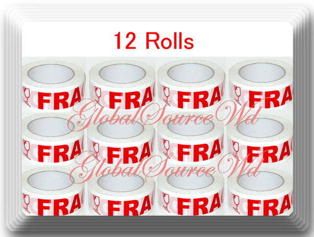 """12 Rolls 3"""" x 110 yds Fragile Seal Packing Tape IF SEAL IS BROKEN"""