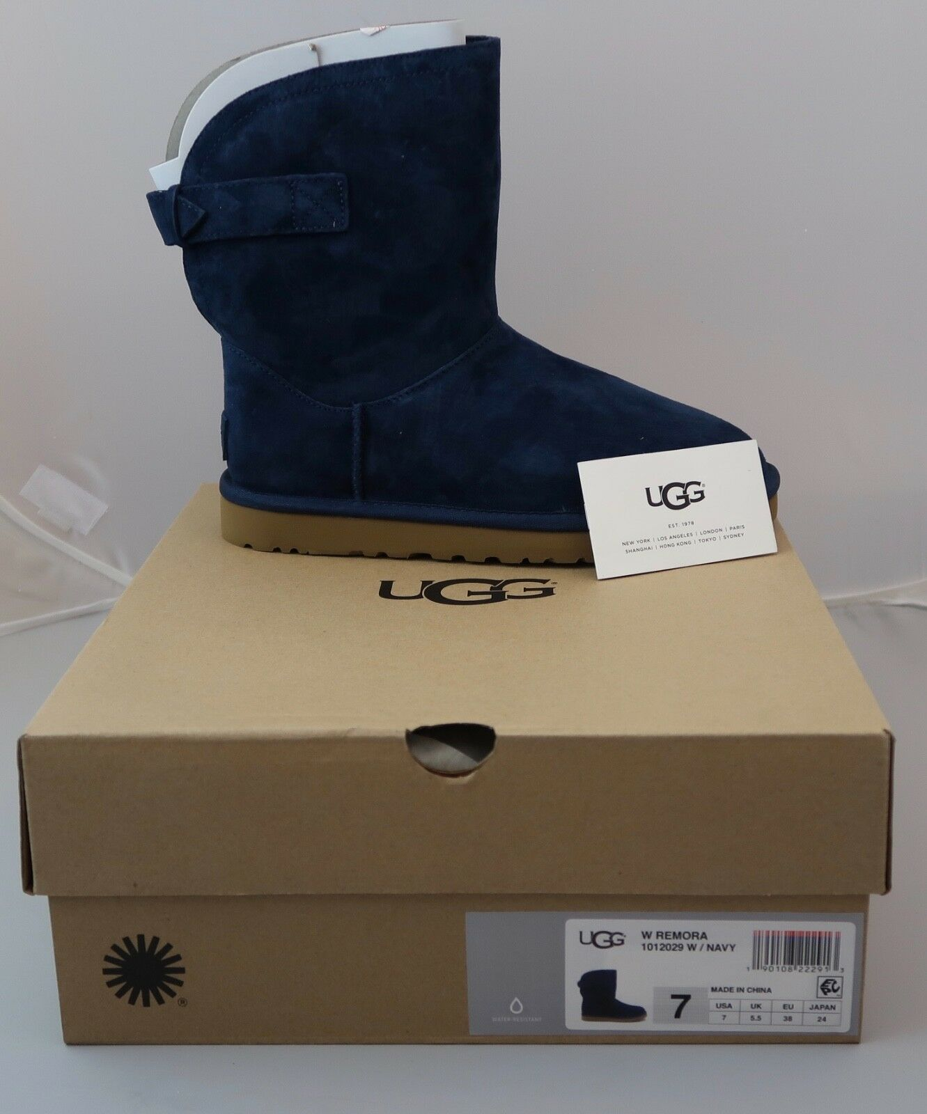 d54c556889e UGG Remora Buckle Short Suede Navy Water Resistant Boot 1012029 Brand New  in Box
