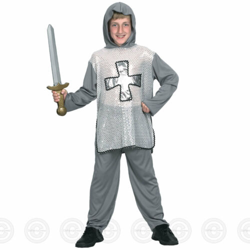 Child Brave Crusader Costume Boys Medieval Knight Fancy Dress Outfit Book Day