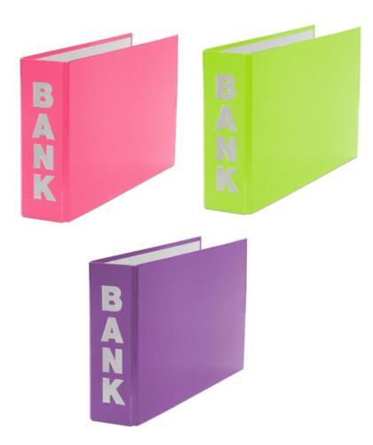 3x Bankordner lila 140x250mm für Kontoauszüge pink je 1x hellgrün
