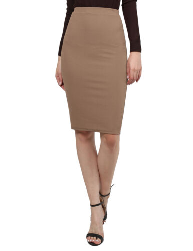 FashionOutfit Women/'s Fitted Solid Bubble Crepe High Waist Midi Pencil Skirt