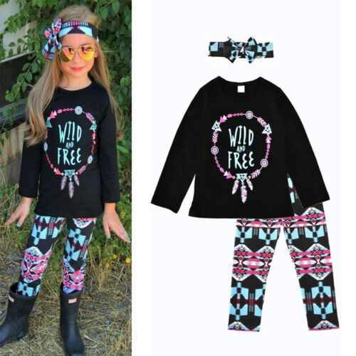 3Pcs Bébé Filles Tenues Vêtements T-shirt Tops Pantalon Long Bow Bandeau Set