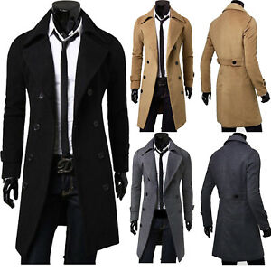 Mens Winter Warm Collar Double Breasted Trench Coat Long Jacket Outwear Overcoat