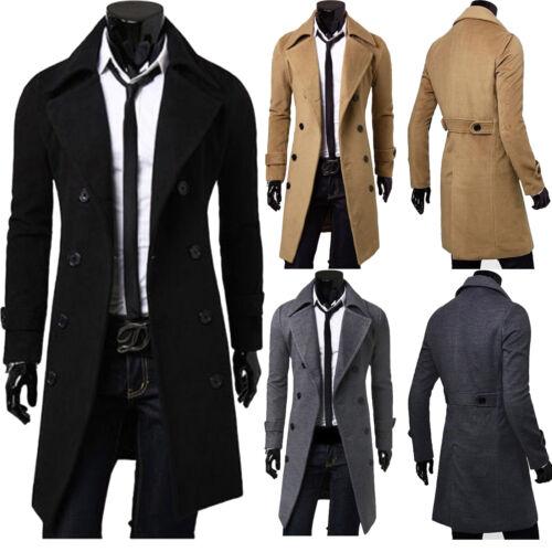 Men Winter Trench Coat Double Breasted Long Jacket Dress Shirt Overcoats Outwear