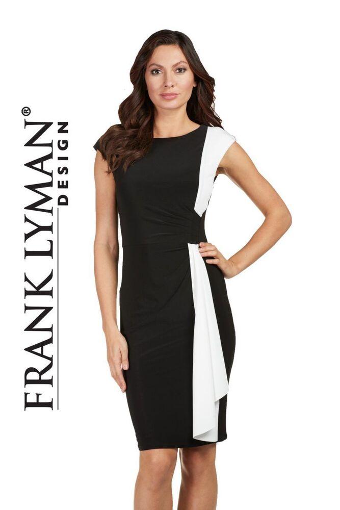 Frank Lyman Black & White Stretch Robe Taille Uk 22 Bnwt 182 €