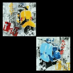 GLASBILDER-DEKO-WAND-BILD-DECO-GLASS-FLOAT-GLAS-VESPA-MOFA-CHOPPER-MOTOR-ROLLER