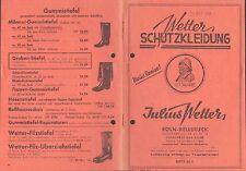 KÖLN-DELLBRÜCK, Preisliste 1952, Wetter-Schutzkleidung