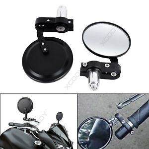 Round-Motorcycle-Bar-End-Mirrors-Rearview-Side-7-8-034-Motorbike-Universal-1-Pair