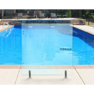 Hinge Panels Frameless Glass Pool Fencing Panels With Holes To Suit Hinges Ebay