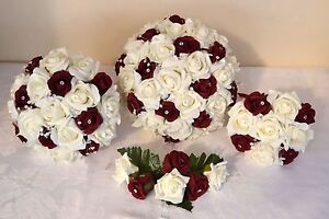 BURGUNDY & ivory white wedding bouquet posy flowers bridesmaid bride ...