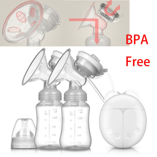 Electric Double Breast Pump With Milk Bottle Powerful Pump USB Charging BPA Free