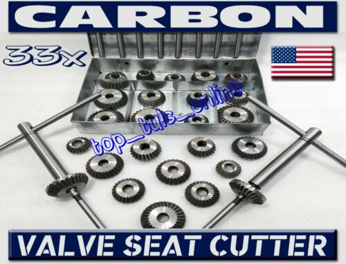 33 x HIGH CARBON STEEL VALVE SEAT CUTTER  KIT VINTAGE CARS,TRUCKS,MOTORCYCLES