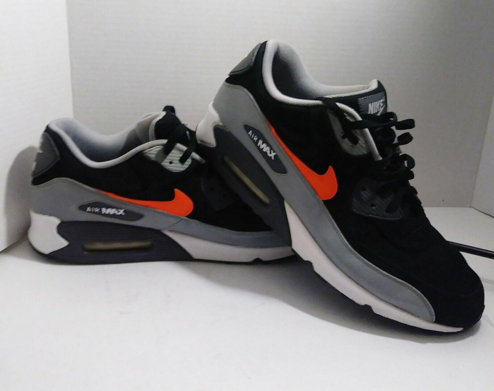 Nike Air Max 90 Ltr Leather Premium Black-Grey-Silver orange 666578-005 - SZ 14