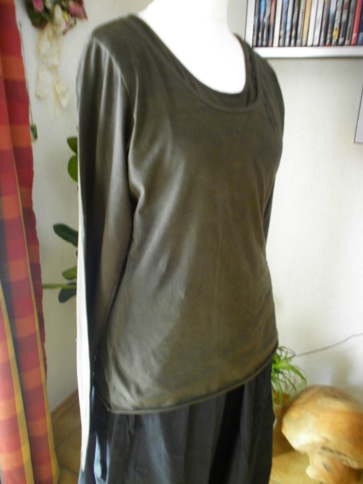 RUNDHOLZ nero Label, shirt tunica, taglia XL, dunkl. dunkl. dunkl. verde oliva marm., Lagenlook, molto bene d4558f