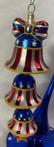 """Christopher RADKO Patriotic Ornament ~ FREEDOM RINGS FOREVER 9"""" ~RARE 3 Bell Set"""