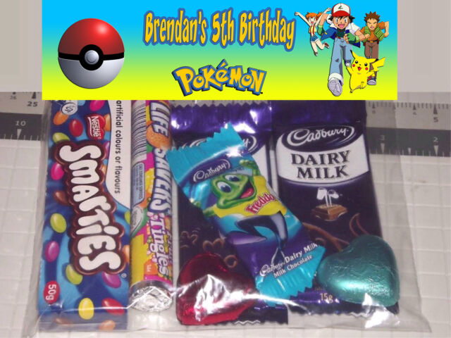12 Pokemon Pokeball Pikachu Design Personalised Birthday Party Lolly / Loot Bags